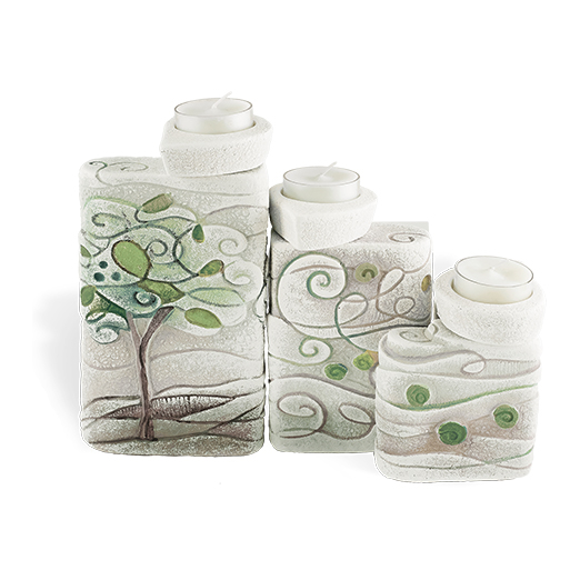 cartapietra candle holders Tris tree of dreams green natura
